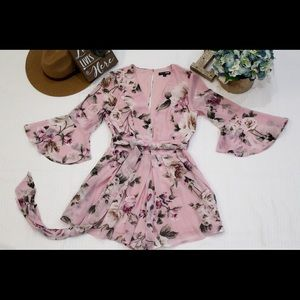 Fashion Nova Pink Floral Romper